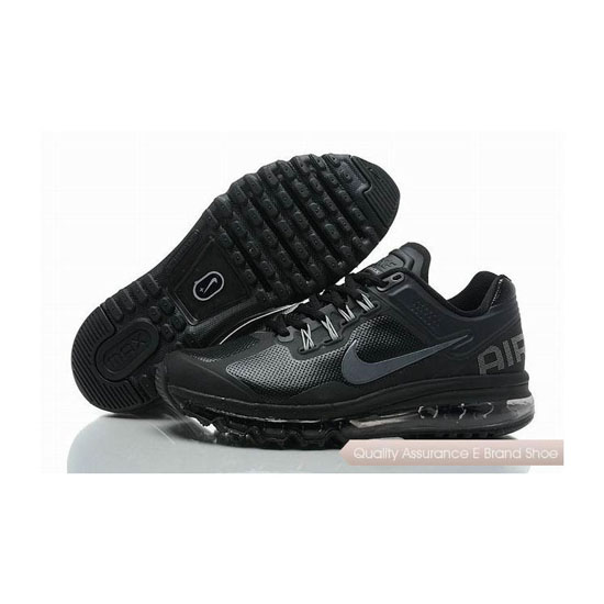 Nike Air Max 2013 Mens Leather Black Gray Sneakers