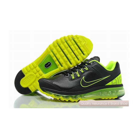 Nike Air Max 2013 Mens Leather Black Green Sneakers