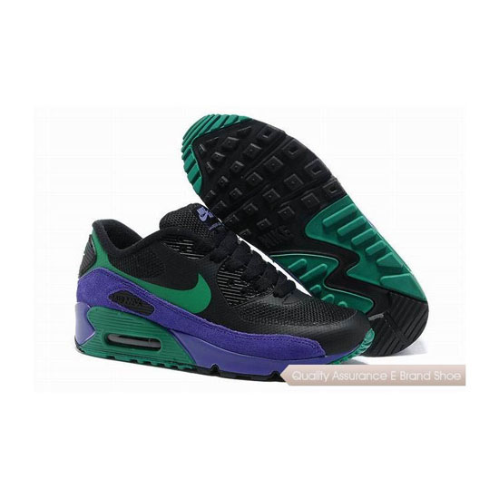 Nike Air Max 90 Hyperfuse Womens Purple Green Sneakers
