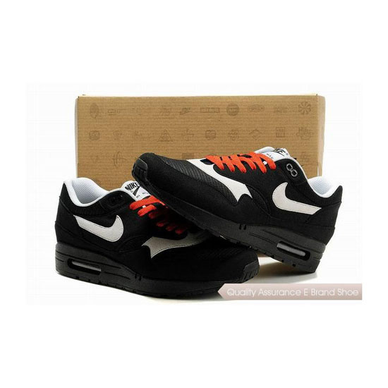 Nike Air Max 1 Mens Black Red Sneakers