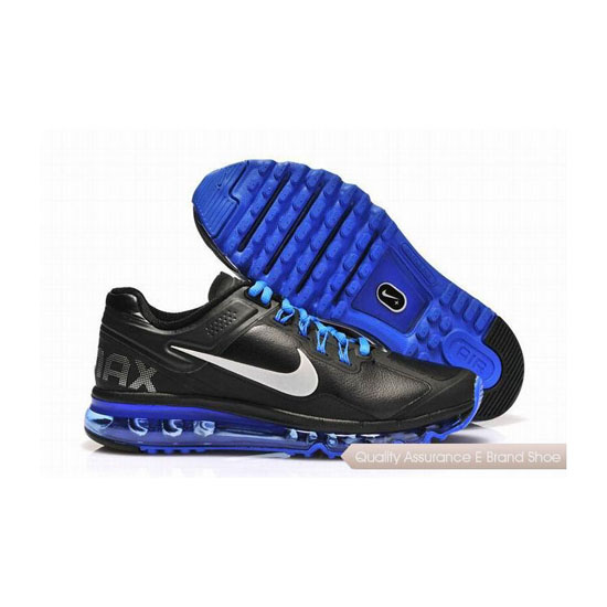 Nike Air Max 2013 Mens Leather Black Blue Sneakers