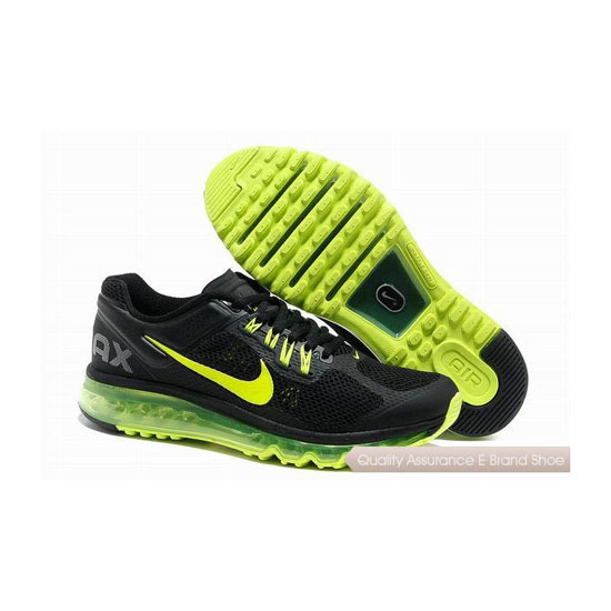 Nike Air Max 2013 Mens Black Green Yellow Sneakers