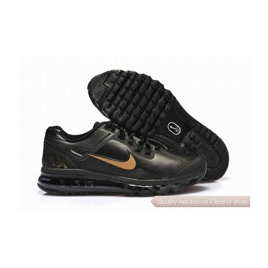 Nike Air Max 2013 Leather Mens Black Yellow Sneakers