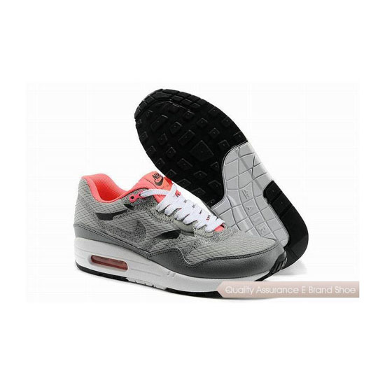 Nike Air Max 1 CMFT PRM TAPE Womens Gray Orange Sneakers