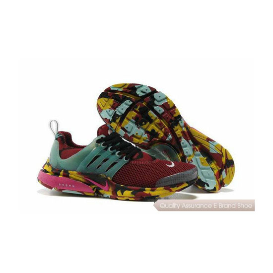 Nike Air Presto Camouflage Womens Wine Red Blue