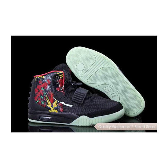 Nike Air Yeezy 2 Bird of Paradise Black/Fire Red Basketball Shoes