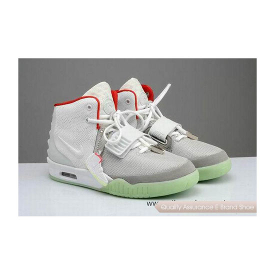 Nike Air Yeezy 2 Fire Red Wolf Grey Basketball Shoes