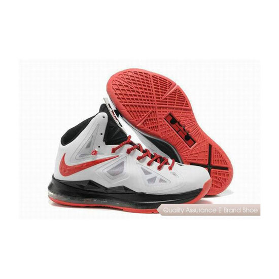 Nike Lebron 10 White/Red/Black Basketball Shoes