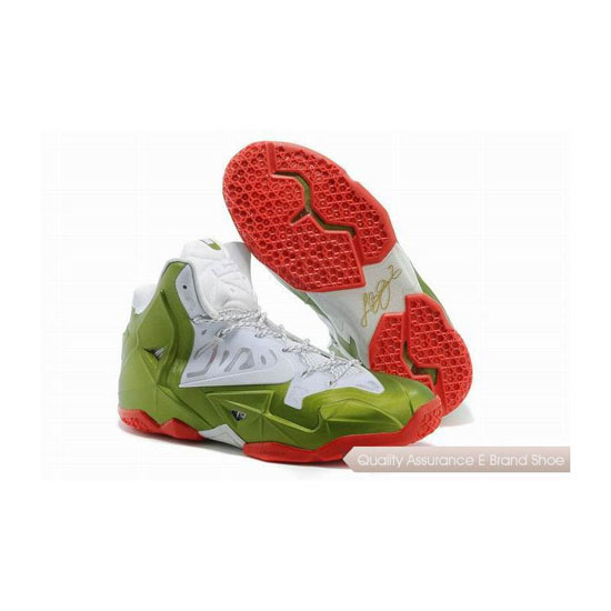 Nike LeBron 11 Christmas White-Green-Red Basketball Shoes