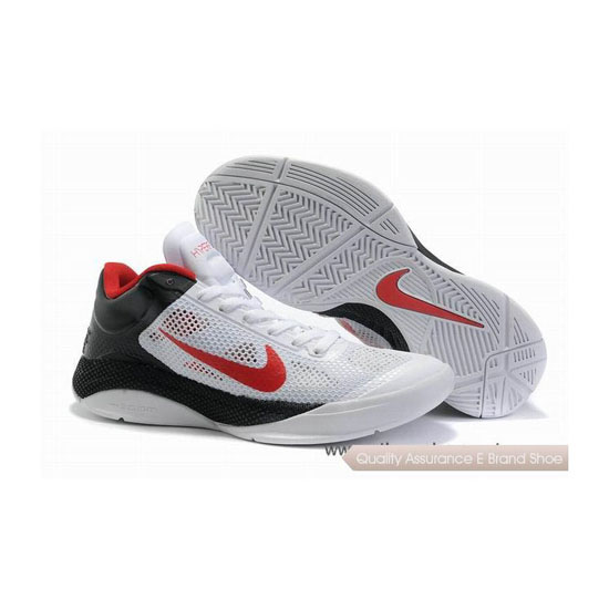 Nike Zoom Hyperfuse Low White/Black/Red Basketball Shoes