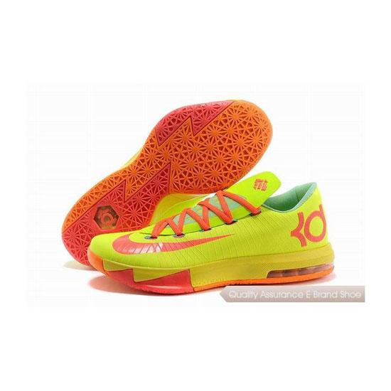 Nike Zoom KD VI Green-Orange-Yellow Basketball Shoes