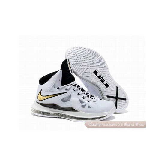 Nike Zoom Lebron 10(X) Basketball Shoes White/Black/Gold