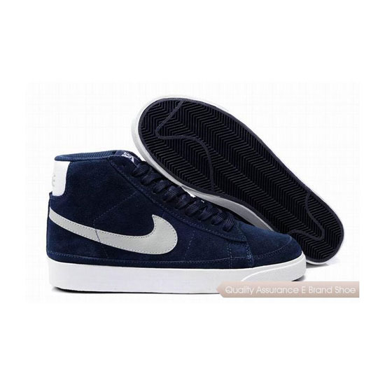 Nike Blazer II Mens Suede Blue White Skateboarding Shoes
