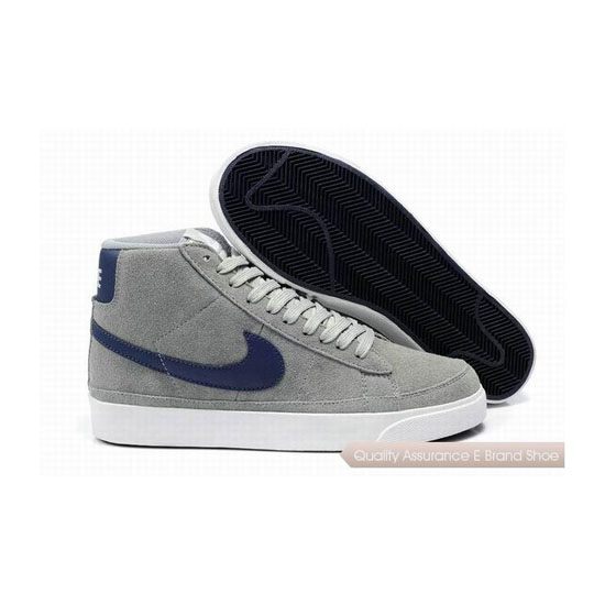 Nike Blazer II Mens Suede Gray Blue Skateboarding Shoes