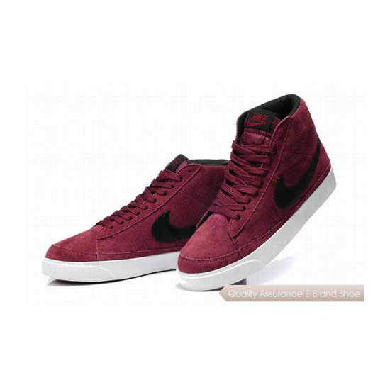Nike Blazer II Mens Suede Winered Black Skateboarding Shoes