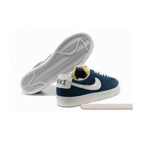 Nike Blazer Low PRM Mens Dark Blue White Skateboarding Shoes