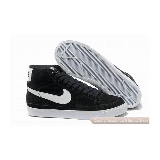 Nike Blazer Mid Prm Mens Black White Skateboarding Shoes