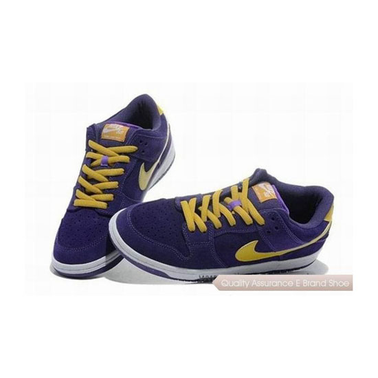 Nike Dunk Low Cut Purple Yellow Mens Sneakers
