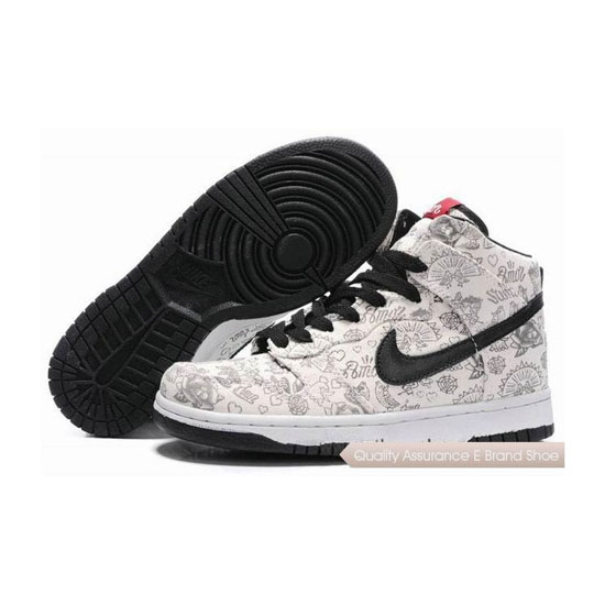 Nike Dunk SB Floral pattern ivory black Mens Sneakers