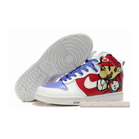 Nike Dunk SB Super Mario white red light blue Mens Sneakers