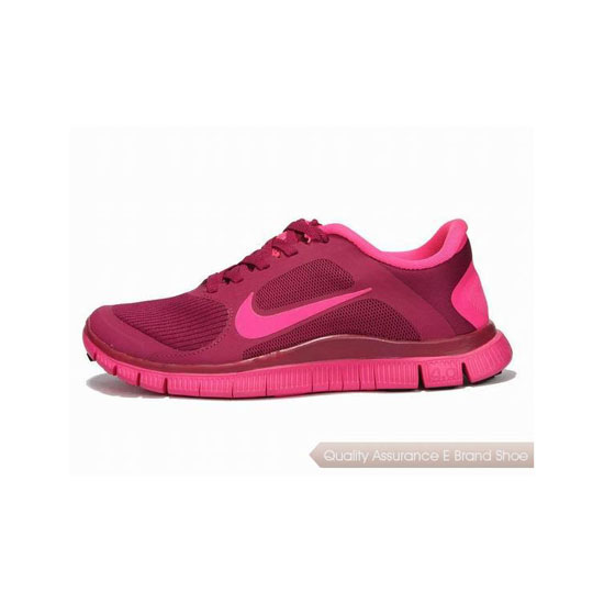 Nike Free 4.0 V3 Womens Running Shoe Wine Red Pink