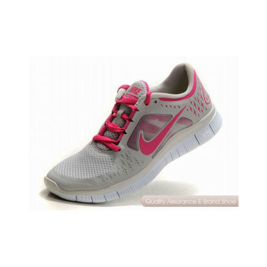 Nike Free Run+ 3 Womens Running Shoe Grey Rose Pink