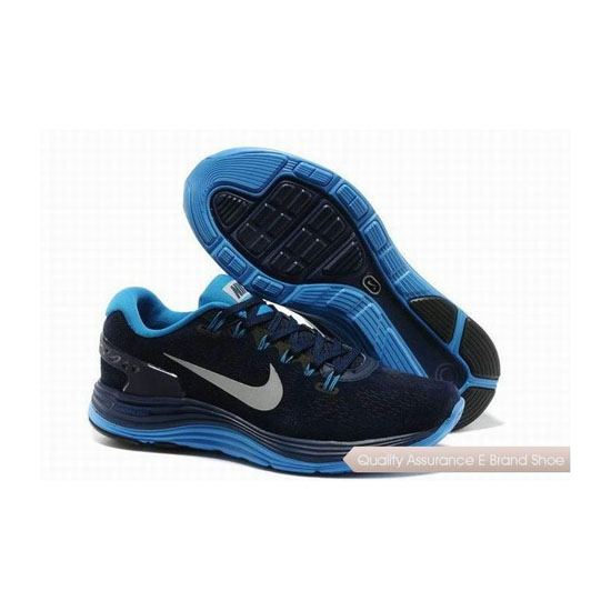 Nike Lunar Glide 5.0 Suede Leather Dark Blue Mens Sneakers
