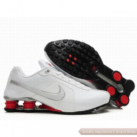Nike Shox R4 Men White/Silver/Red Shoes 1076