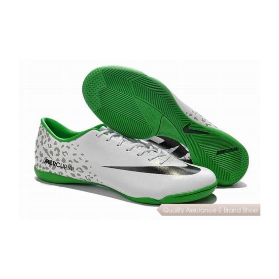 Nike Mercurial Victory IV Indoor Soccer Shoes 2014 White Black Green