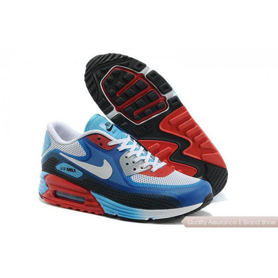 Nike Air Max 90 Lunar Mens Light Grey Blue Red Shoes