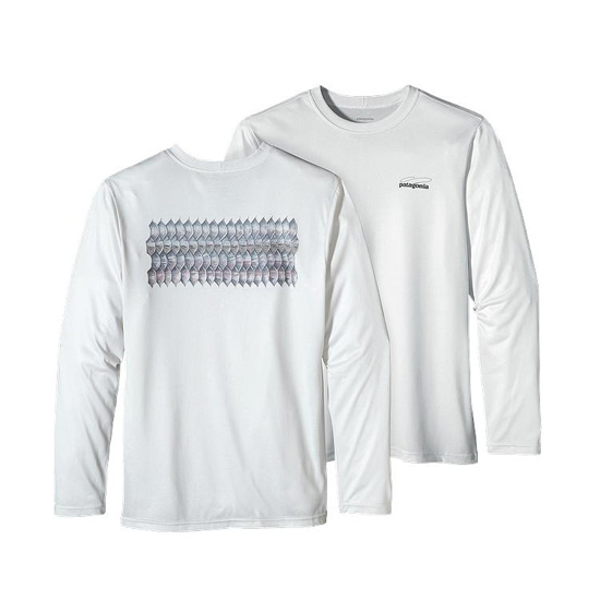PATAGONIA MEN'S LONG-SLEEVED GRAPHIC TECH FISH TEE