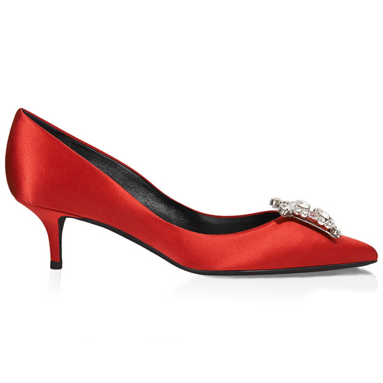 ROGER VIVIER KING PUMPS IN SATIN WITH RHINESTONES