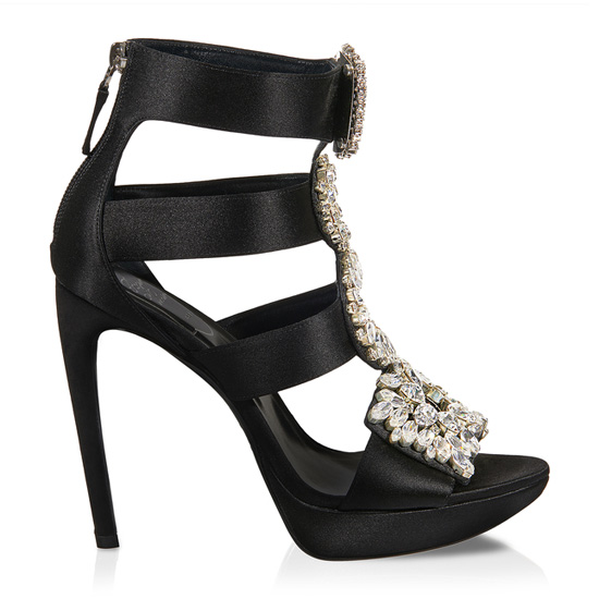 ROGER VIVIER SILK AND RHINESTONE SANDALS