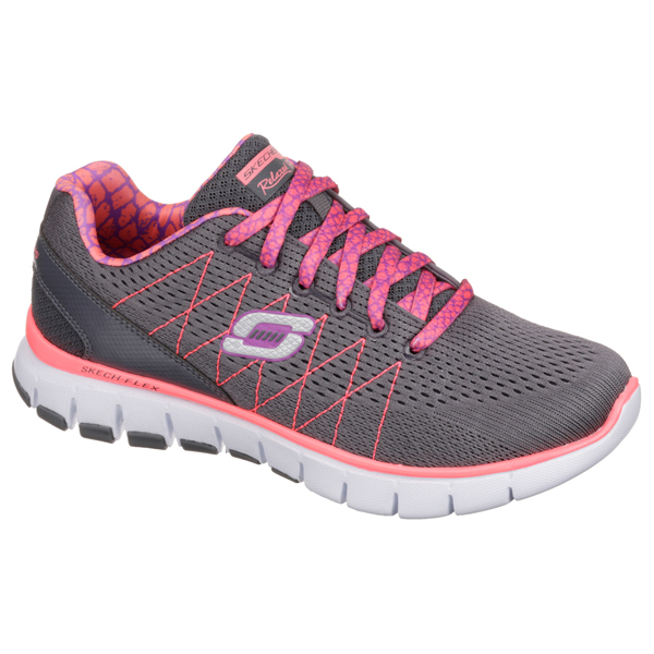 SKECHERS WOMEN RELAXED FIT: SKECH-FLEX Charcoal/Coral