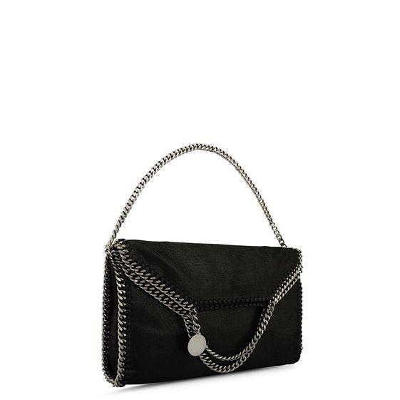 STELLA MCCARTNEY FALABELLA SHAGGY DEER FOLD OVER TOTE BLACK