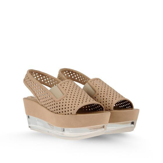 STELLA MCCARTNEY LINDSEY PERFORATED FAUX SUEDE PLEXI WEDGES BEIGE