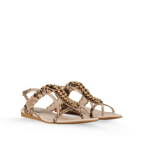 STELLA MCCARTNEY GRACE FAUX PYTHON CHAIN SANDAL BEIGE