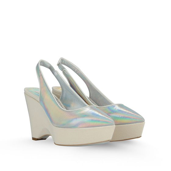 STELLA MCCARTNEY NATHALIE HOLOGRAM AND CANVAS WEDGES 100MM PRISMA/T.WHITE