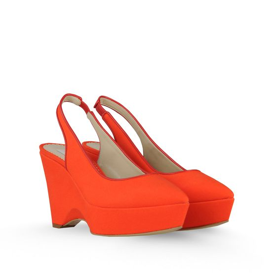 STELLA MCCARTNEY NATHALIE CANVAS WEDGES 100MM MANDARIN/CHINESE LAQ