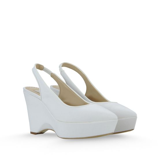 STELLA MCCARTNEY NATHALIE CANVAS WEDGES 100MM WHITE