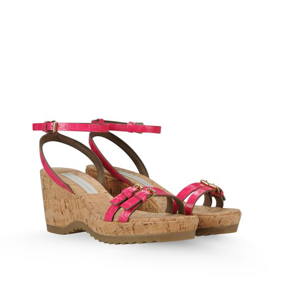 STELLA MCCARTNEY LINDA MOC CROC SANDALS 70MM FUCHSIA