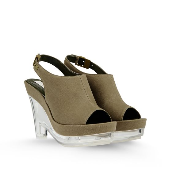 STELLA MCCARTNEY GLORIA CANVAS PLEXI WEDGES GREEN