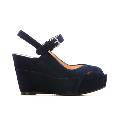 STUART WEITZMAN THE TURNOVER WEDGE Nice Blue Suede