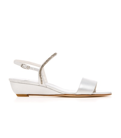STUART WEITZMAN THE SWEEPER WEDGE Silver Nappa