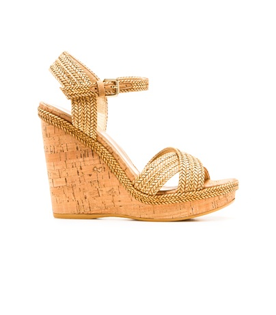 STUART WEITZMAN THE MINX WEDGE Camel Laniard