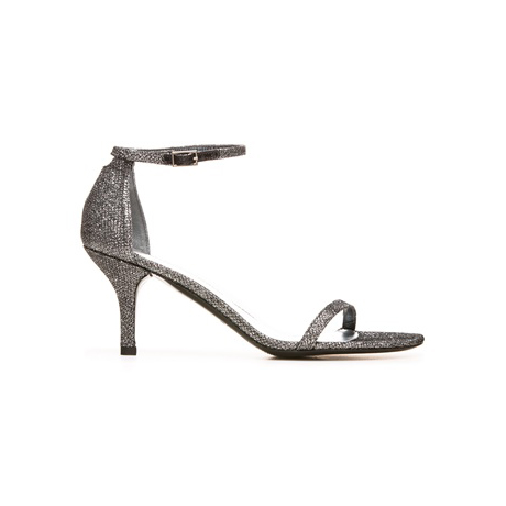 STUART WEITZMAN THE NAKED SANDAL Pewter Noir