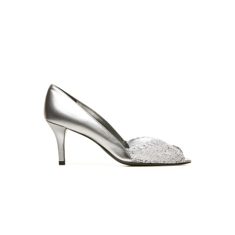 STUART WEITZMAN THE CHANTELLE PUMP Aluminum Chantilly Lace