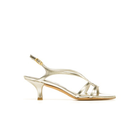 STUART WEITZMAN THE REVERSAL PUMP Gold Supple Kid