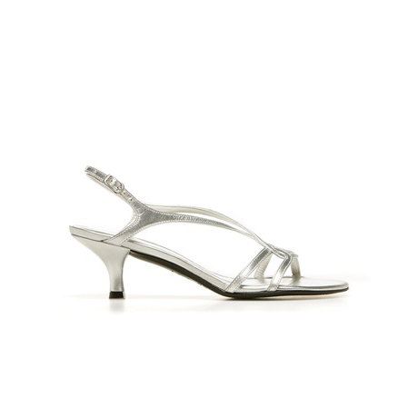 STUART WEITZMAN THE REVERSAL PUMP Silver Supple Kid