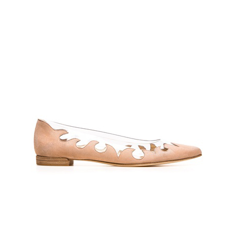 STUART WEITZMAN THE SCROLLY FLAT Bisque Suede